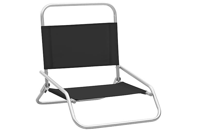 Kokoontaitettavat rantatuolit 2 kpl musta kangas - Puutarhakalusteet - Tuolit & nojatuolit - Aurinkotuolit