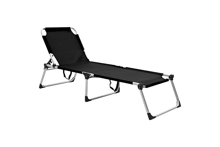 Korkea kokoontaittuva vanhusten aurinkotuoli musta alumiini - Puutarhakalusteet - Tuolit & nojatuolit - Aurinkotuolit