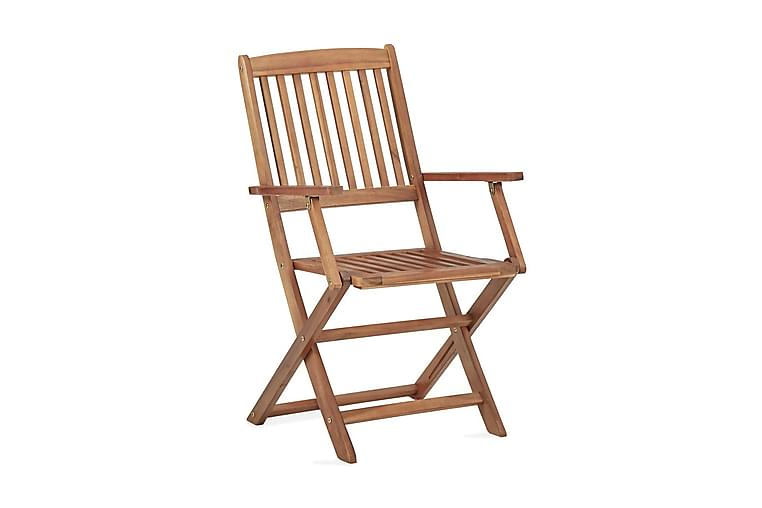 Taitettavat ulkotuolit 4 kpl täysi akaasiapuu - Ruskea - Puutarhakalusteet - Tuolit & nojatuolit - Säätötuolit