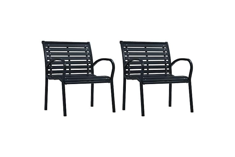 Puutarhatuolit 2 kpl musta teräs ja WPC - Musta - Puutarhakalusteet - Tuolit & nojatuolit - Ulkotilan ruokatuolit