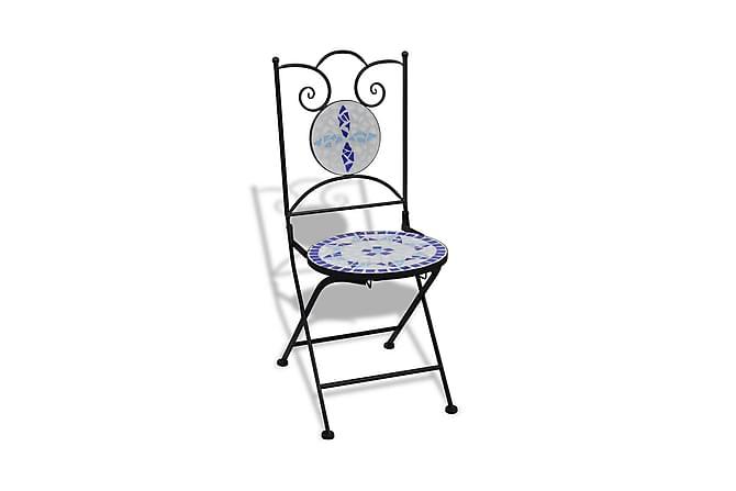 Taitettavat ulkotuolit 2 kpl keramiikka sininen & - Monivärinen - Puutarhakalusteet - Tuolit & nojatuolit