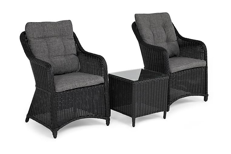 Caféryhmä Marcus + 2 Nojatuolia + pehmusteet - Musta - Puutarhakalusteet - Tuolit & nojatuolit - Ulkotilan nojatuolit