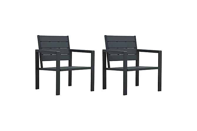 Puutarhatuolit 2 kpl harmaa HDPE puun näköinen - Harmaa - Puutarhakalusteet - Tuolit & nojatuolit