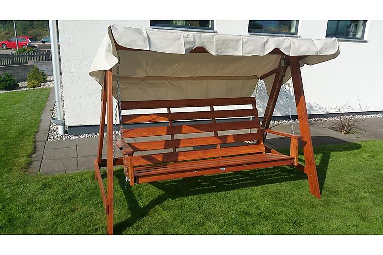Swingseat Mellby 3 henkilöä Ruskealakattu - Eden Wood - Puutarhakalusteet - Riippumatot & riipputuolit - Riipputuolit