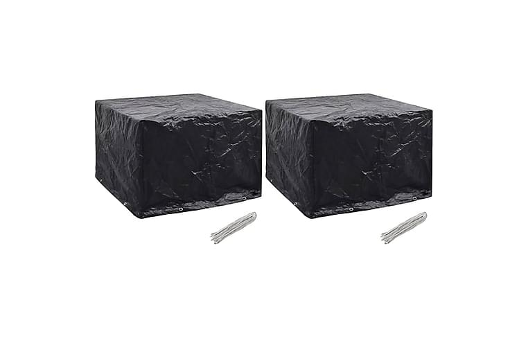 Puutarhakalusteiden suojat 2kpl 8 purjerengasta 122x112x98cm - Musta - Puutarhakalusteet - Säilytyslaatikot & kalustesuojat - Kalustesuojat