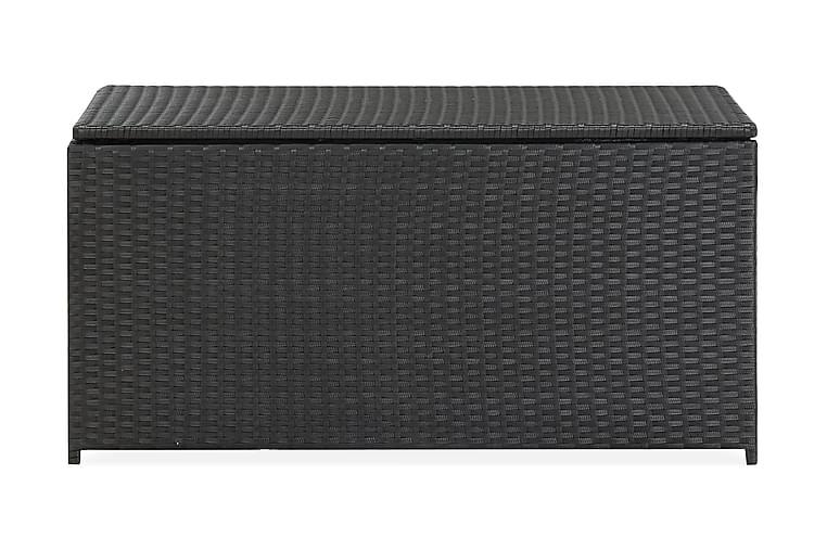 Puutarhan säilytyslaatikko polyrottinki 100x50x50 cm musta - Musta - Puutarhakalusteet - Säilytyslaatikot & kalustesuojat - Säilytyslaatikot