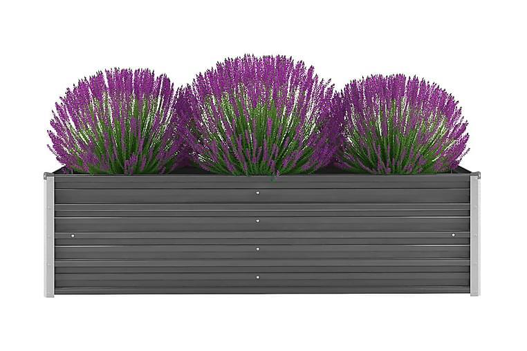 Korotettu kukkalaatikko galvanoitu teräs 160x40x45 cm harmaa - Harmaa - Puutarhakalusteet - Tarvikkeet ulos - Ruukut ulkokäyttöön