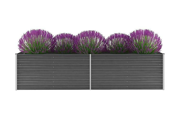 Korotettu kukkalaatikko galvanoitu teräs 320x80x77 cm harmaa - Harmaa - Puutarhakalusteet - Tarvikkeet ulos - Ruukut ulkokäyttöön