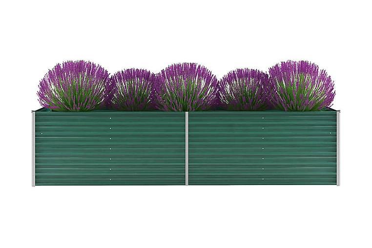 Korotettu kukkalaatikko galvanoitu teräs 320x80x77 cm vihreä - Vihreä - Puutarhakalusteet - Tarvikkeet ulos - Ruukut ulkokäyttöön