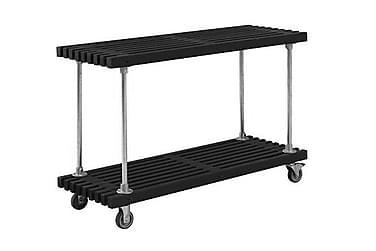 Grilli/työpöytä rimoista Design 140x49x90 cm pyörillä - must