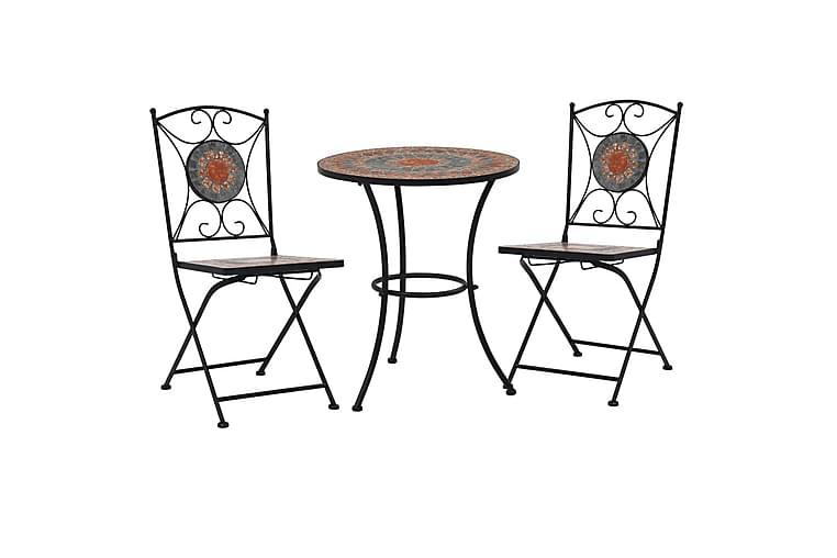 3-osainen mosaiikkibistrosarja keraamiset laatat - Oranssi - Puutarhakalusteet - Terassipöydät - Kahvilapöydät