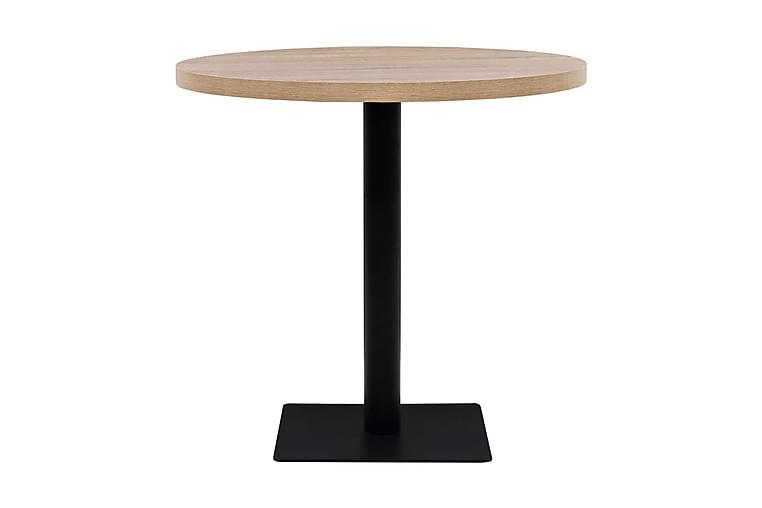 Bistropöytä MDF ja teräs pyöreä 80x75 cm tammenvärinen - Beige - Puutarhakalusteet - Terassipöydät - Kahvilapöydät