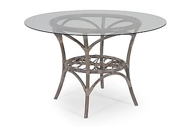 Pöytä Råå Valkoinen/Harmaapesty sis. Lasilevyn Luonnonrottin