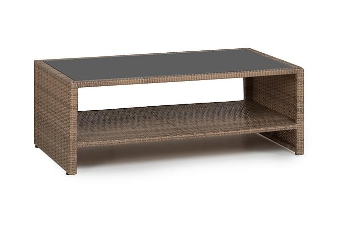 Pöytä Bahamas hyllyllä 113 cm - Hiekka - Puutarhakalusteet - Terassipöydät - Lounge pöydät