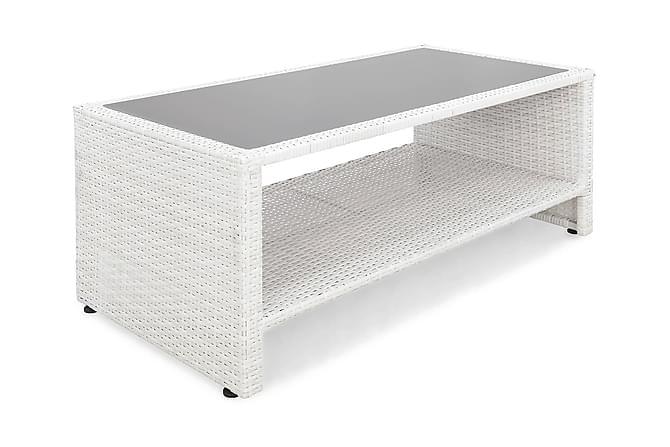 Pöytä Bahamas hyllyllä 113 cm - Valkoinen - Puutarhakalusteet - Terassipöydät - Lounge pöydät