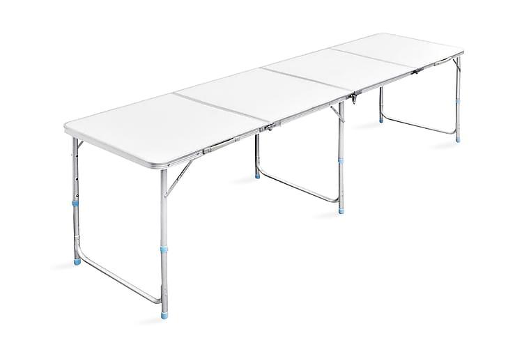 Kokoontaitettava Leiripöytä Korkeussäädettävä 240x60 cm - Valkoinen - Puutarhakalusteet - Terassipöydät - Retkipöydät