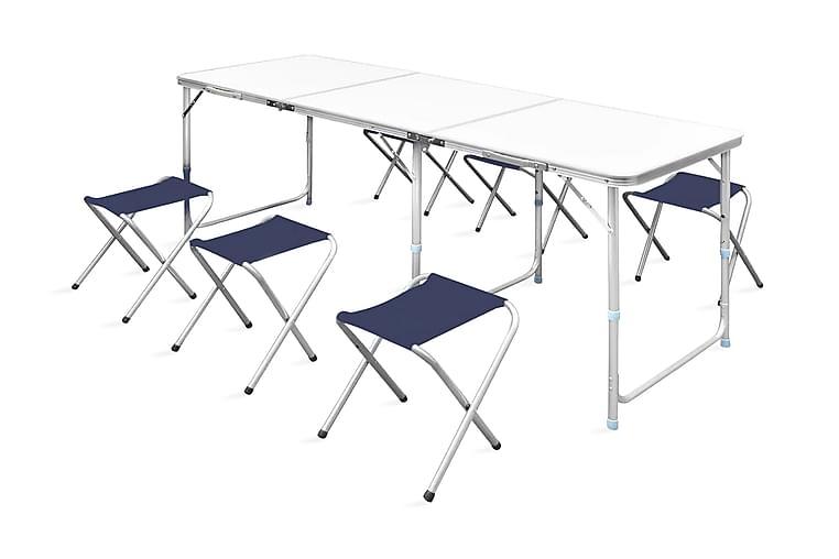 Kokoontaitettava Leiripöytä Korkeussäädettävä 6 Jakkaraa - Valkoinen - Puutarhakalusteet - Terassipöydät - Retkipöydät