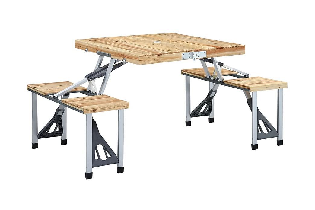 Kokoontaitettava retkipöytä neljällä istuimella teräs - Ruskea - Puutarhakalusteet - Terassipöydät - Retkipöydät