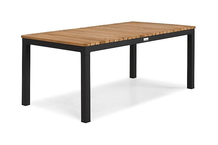 Pöytä Bahamas 110 cm - Musta/Tiikki - Puutarhakalusteet - Terassipöydät - Ruokapöytä terassille