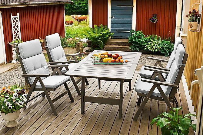 Pöytä Cecilia 100x165(225/285)cm Harmaalakattu mänty - Puutarhakalusteet - Terassipöydät - Ruokapöytä terassille