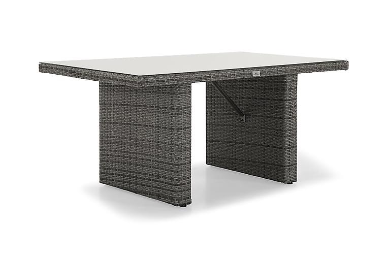 Pöytä James 145 cm - Harmaa/Lasi - Puutarhakalusteet - Terassipöydät - Ruokapöytä terassille