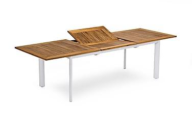 Pöytä Nydala 96x200/280 cm Valkoinen/Tiikki