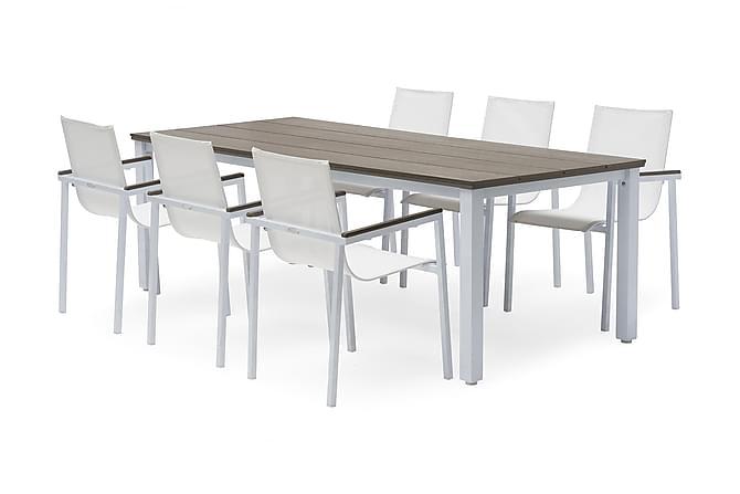 Pöytä Nydala 96x220 cm Valkoinen - Puutarhakalusteet - Terassipöydät - Ruokapöytä terassille