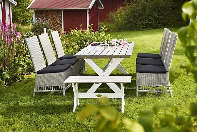 Pöytä Shabby Chic Harmaa/Valkoinen - 160x86 cm - Puutarhakalusteet - Terassipöydät - Ruokapöytä terassille