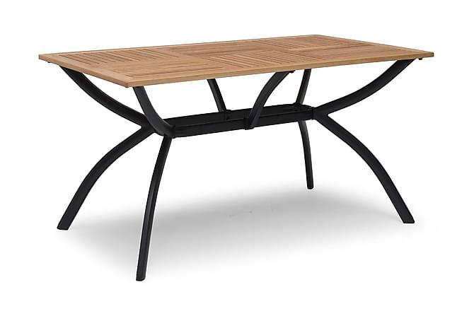 Pöytä Viren 80x140 cm Musta alumiini/saarni - Puutarhakalusteet - Terassipöydät - Ruokapöytä terassille