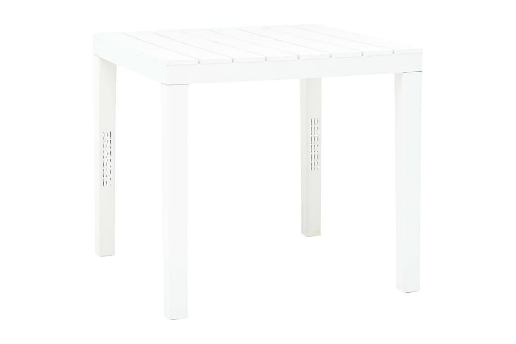 Puutarhapöytä 2 penkillä muovi valkoinen - Valkoinen - Puutarhakalusteet - Terassipöydät - Ruokapöytä terassille