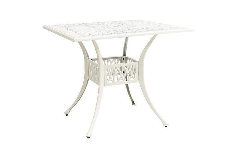 Puutarhapöytä valkoinen 90x90x73 cm valualumiini - Puutarhakalusteet - Terassipöydät - Ruokapöytä terassille