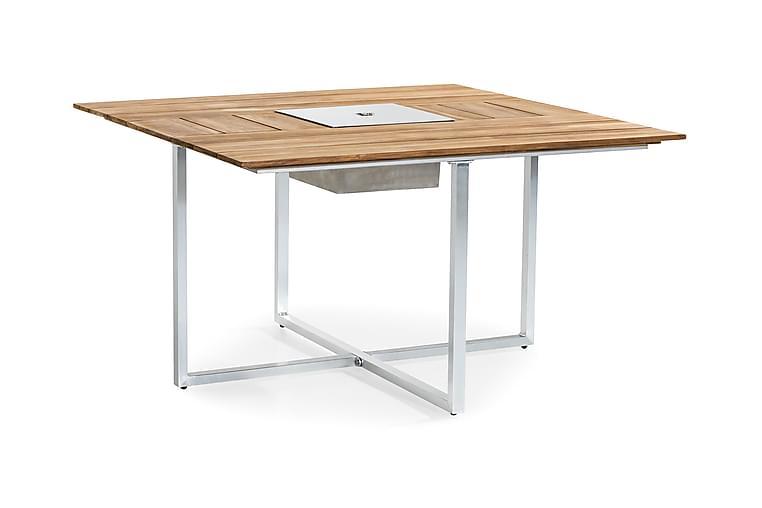 Ruokapöytä Båstad 140x140 cm - Tiikki/Harjattu alumiini - Puutarhakalusteet - Terassipöydät - Ruokapöytä terassille