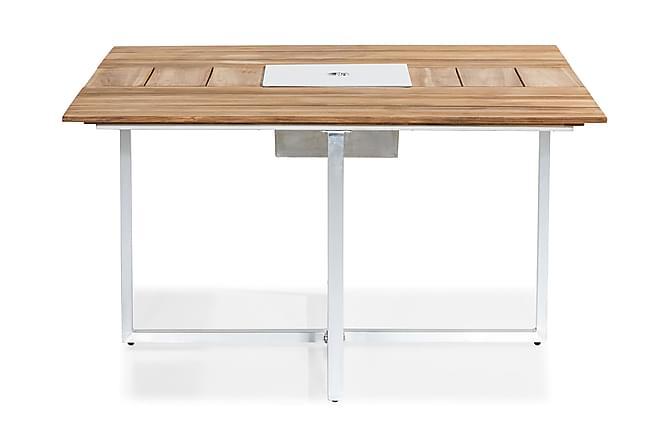 Ruokapöytä Båstad 140x140 cm - Tiikki/Harjattu alumiini - Puutarhakalusteet - Valitse materiaalin mukaan - Puu & tiikki