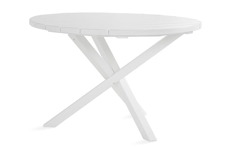 Ruokapöytä Lietinna Pyöreä 112 cm Valkoinen - KWA - Puutarhakalusteet - Terassipöydät - Ruokapöytä terassille