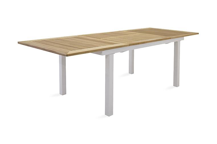 Ruokapöytä Panama Jatkettava 152 cm - Tiikki/Valkoinen - Puutarhakalusteet - Terassipöydät - Ruokapöytä terassille