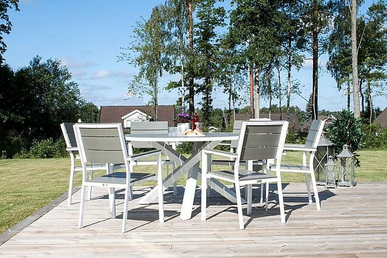Ruokapöytä Parma Pyöreä 140 cm - Aintwood/Valkoinen - Puutarhakalusteet - Terassipöydät - Ruokapöytä terassille