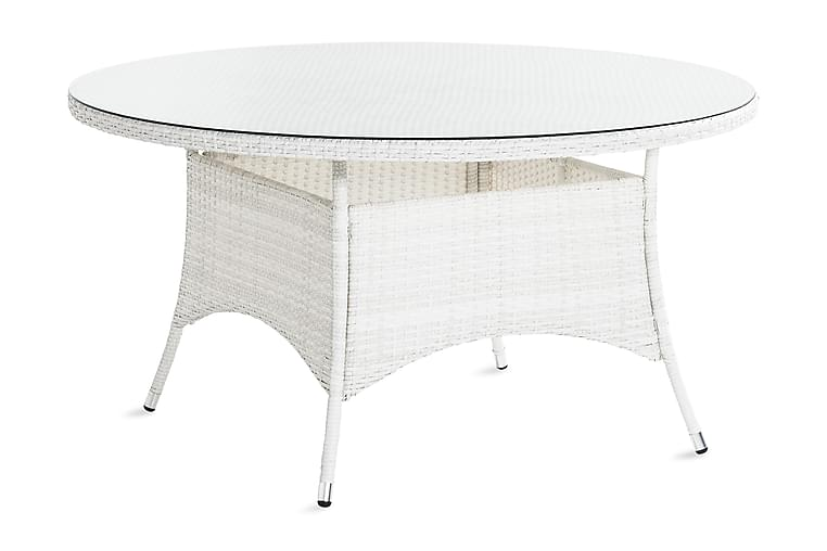 Ruokapöytä Thor 140 cm Pyöreä - Valkoinen - Puutarhakalusteet - Terassipöydät - Ruokapöytä terassille