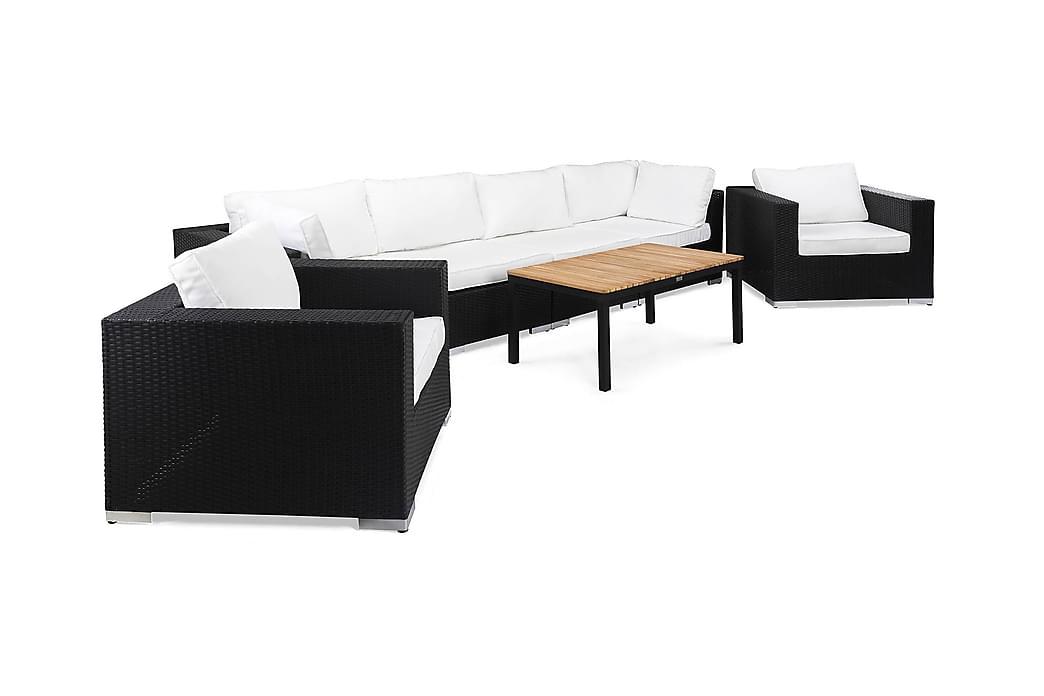 Oleskeluryhmä Bahamas 6:n ist Pöytä Musta/Tiikki - 2 Nojatuolia Musta - Puutarhakalusteet - Terassiryhmät - Oleskeluryhmät