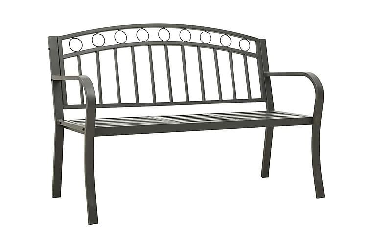 Puutarhapenkki pöydällä 125 cm teräs harmaa - Harmaa - Puutarhakalusteet - Sohvat & penkit - Penkit ulos