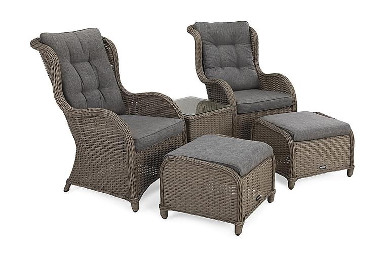 Caféryhmä Marcus + Nojatuolit jalkarahilla + pehmusteet - Harmaa - Puutarhakalusteet - Valitse materiaalin mukaan - Polyrottinki