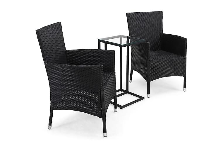 Caféryhmä Sierra + 2 Thor Nojatuolia - Musta - Puutarhakalusteet - Valitse materiaalin mukaan - Polyrottinki