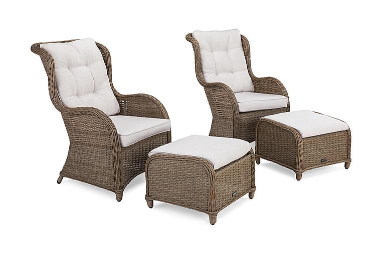 Nojatuoli Marcus Jalkarahilla + pehmuste 2-pak - Luonnonväri - Puutarhakalusteet - Valitse materiaalin mukaan - Polyrottinki