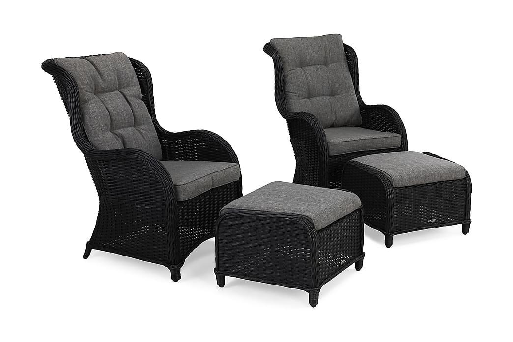 Nojatuoli Marcus Jalkarahilla + pehmuste 2-pak - Musta - Puutarhakalusteet - Valitse materiaalin mukaan - Polyrottinki