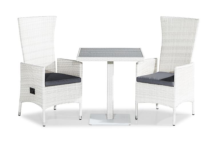 Parvekeryhmä Bahamas 70x70 + 2 Jenny tuolia Pehmuste - Valkoinen/Harmaa - Puutarhakalusteet - Valitse materiaalin mukaan - Polyrottinki