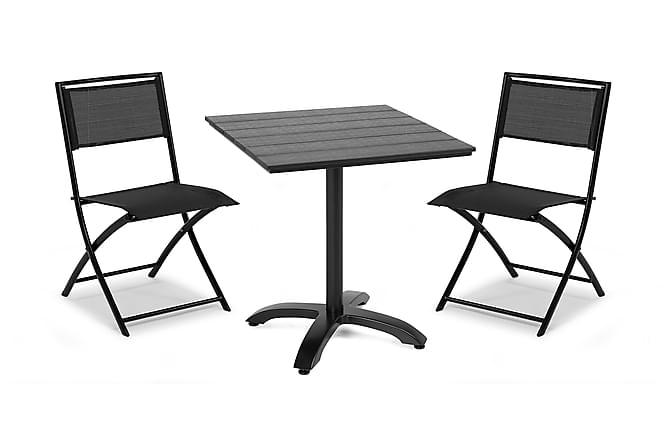 Parvekesetti Hillerstorp Brighton 70x70 + 2 Belinge tuolia - Musta - Puutarhakalusteet - Ulkotilan ruokailuryhmät - Cafe-ryhmä
