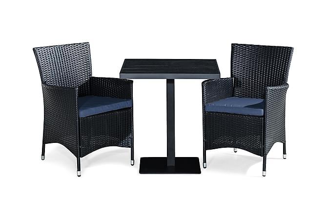 Parvekesetti Tunis 70x70 + 2 Thor tuolia pehmuste - Musta/Sininen - Puutarhakalusteet - Ulkotilan ruokailuryhmät - Cafe-ryhmä