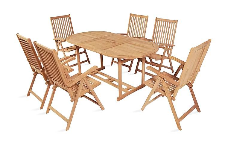 7-osainen Ulkoruokailuryhmä kokoontaittuvat tuolit tiikki - Ruskea - Puutarhakalusteet - Ulkotilan ruokailuryhmät - Ruokailuryhmät ulos