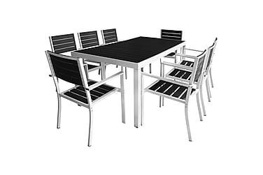 9-osainen Ulkoruokailuryhmä WPC pöytälevy alumiini musta