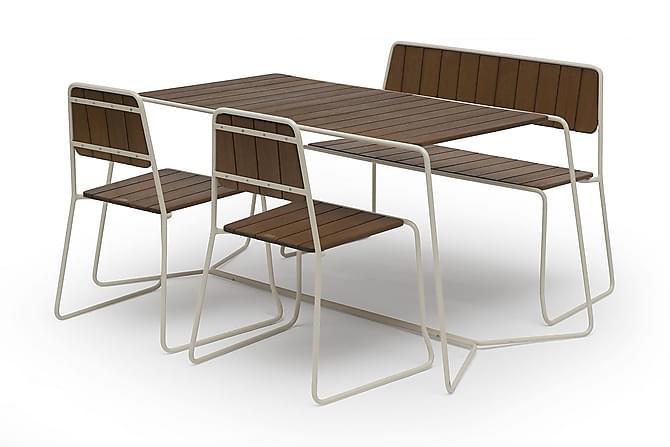 Cafégrupp Hillerstorp Oas 70x120 + 2 Oas tuolia + Oas Sohva - Ruskea - Puutarhakalusteet - Ulkotilan ruokailuryhmät - Ruokailuryhmät ulos