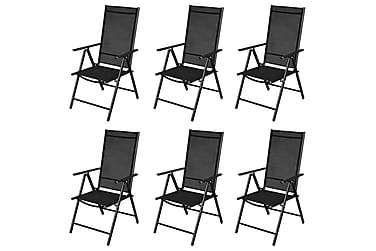 Kokoontaitettavat Puutarhatuolit 9 Kpl alumiini musta